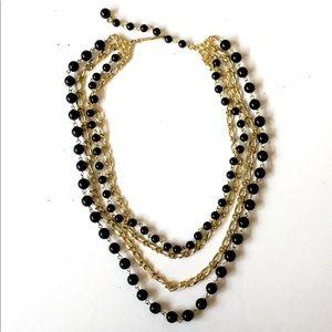 Gold Black Vintage Necklace Multi Strand